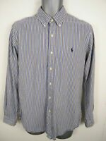 MENS RALPH LAUREN BLUE/WHITE STRIPED BUTTON UP LONG SLEEVE CUSTOM SHIRT M MEDIUM
