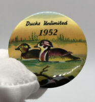 Vintage Ducks Unlimited Button Pinback Pin Badge Duck Hunting Sports 1952