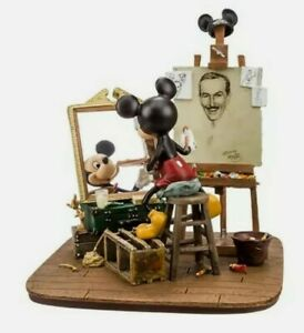 BNIB Rare Disneyland Paris Mickey Mouse & Walt Disney Self Portrait Figurine