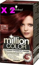 2 X SCHWARZKOPF MILLION COLOR COLORATION TEINTURE COULEUR 4-88 ROUGE MYSTERIEUX
