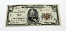 1929 $50 NATIONAL CURRENCY NOTE THE FEDERAL RESERVE OF DALLAS TEXAS- NR 10035-6