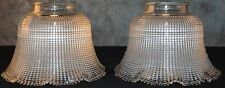 """Holophane 2807 USA Pair Clear Glass Lamp Shades Fitter 2 5/8"""" Scalloped Edge"""
