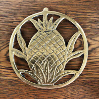Vintage Brass Pineapple Trivet With Rubber Feet