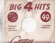 "78-RARE 78 SLEEVE SALE-TAKE A L@@K!-GATEWAY BIG 4 RECORDS COMPANY SLEEVE - ""N-"""