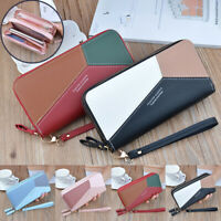 Womens Clutch Wallet Card Holders Leather Coin Purse Long Double Zipper Wallet
