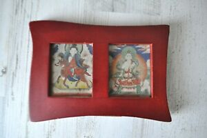 Tibetan Mongolian Wood Framed Antique Thankga Painting  Set Goddess Buddha
