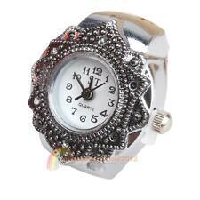 Fashion Lovely Creative Tibet Silver Petal Flower Quartz Finger Ring Watch