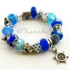 Turquoise Blue Bon Voyage Nautical European Charm Bracelet w Ocean Animal Beads