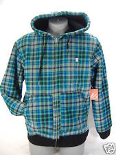 New Mens Medium ES Etnies Shoes Zip Hoody Snow Jacket Plaid Blue