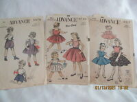Vintage 1950 s Advance Girl's Toddler Dresses Size 2 Printed Patterns lot of 3