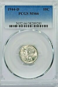 1944-D 10C Mercury Silver Dime PCGS MS66 (SI:Y-9281) 99c NO RESERVE  Witter Coin