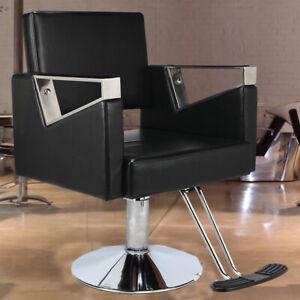 Adjustable Hydraulic Reclining Barber Hairdressing Beauty Salon Chair Black