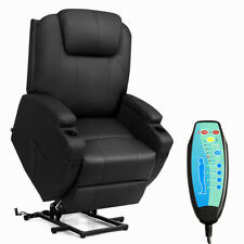 Electric Lift Power Chair Recliner Heated Vibration Massage Sofa w/ Remote Black