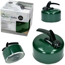 2 Litre Aluminium Camping Stove Whistling Kettle for Gas & Electric Hobs Green