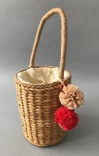 NEW Woven Straw Bucket Bag with Raffia Pom Pom in Natural