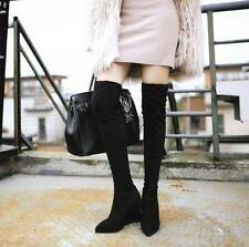 Ladies faux suede wedge over knee boots pointed toe pull on knight Slim shoes