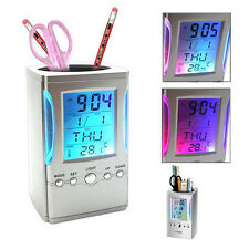 Plastic Multi-Function Desktop E-Calendar Temperature Clock Pen Holder