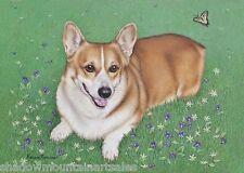 Welsh Corgi ACEO Art print dog animal flowers butterfly pet Ltd Ed Free Ship KR