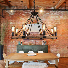 8 Head Retro Rustic Ceiling Light Rope Iron Round Chandelier Industrial Pendant