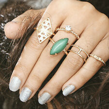 Bohemia Vintage Gold Plated Oval Nature Stone Alloy Rings Ethnic Style 5Pcs/Set