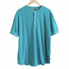 Jack Spade Men's Henley Shirt XL Teal Short Sleeves Linen Cotton Blend New