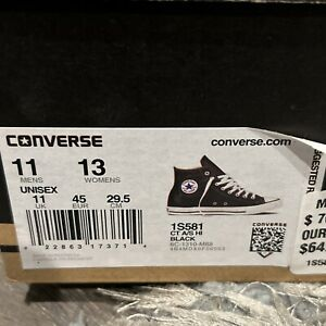 Converse Chuck Taylor All Star High Men's Shoes Leather Black 1s581 Size 11 W13