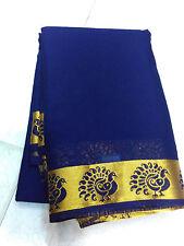 Blue Mysore Grepe Silk Saree Grand Soft Silk Border Saree Grand HandLoom Saree