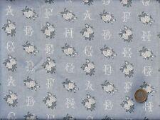 Superbe coupon TISSU LETTRES ALPHABET point croix + ROSES ivoire fond GRIS BLEU
