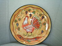 LANG Redware Salad plate ~ WINE COUNTRY ~ Susan Winget ~ Rooster & grapes ~ EC