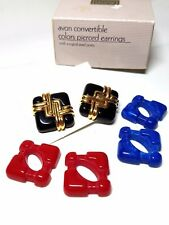 Avon Convertible Colors Pierced Earrings Vintage Red Blue Black
