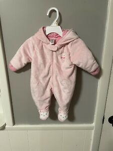 Carter's Just One You Baby Girl SZ NB Pink One Piece Snowsuit Bunting Plush!