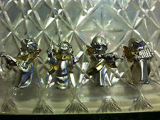 Set of 4 Heavy Metal Miniature Silver n Gold Tone Angels Playing Instruments