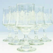 Vintage Retro 1970s Sherry Liqueur Glasses Set 6 Grapevine