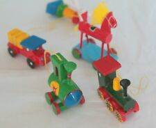 Vintage Set of 5 Primary Colour Wooden Christmas Tree Decorations