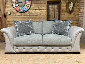 SiSi Italia SCS 3 str sofa grey leather chenille fabric silver velvet