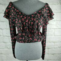 Forever 21 Black Multi Floral Smocked Ruffle Crop Top Size Large Long Sleeve