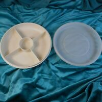 Vintage Tupperware 1708 1709 Divided Veggie Relish & Dip Serving Tray w/ Lid