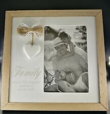 """""""Famliy"""" Theme Freestanding Wood Photo Frame With Hessian butterfly & wood Heart"""