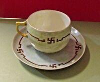 AKD FRANCE LIMOGES ANTIQUE HAND PAINTED TEACUP PLATE SET 1910 UNIQUE DESIGN