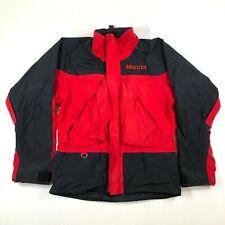Marmot Mens S Gore Tex Waterproof Thick Shell Red Black Full Zip Jacket Vintage