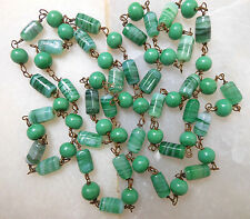 """Vintage Necklace Art Glass Swirled Spring Green Bead Wired Flapper 35"""" Long"""