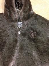 Metropolis By Couloir Faux Fur Jacket Coat Silver Brown Hooded Women's Size M