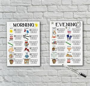 Childrens Morning and Evening Routine, Kids Reward Chart, Autism, ADHD UNFRAMED