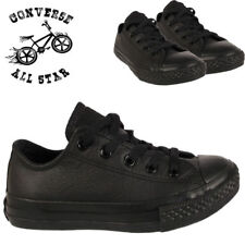 CONVERSE LEATHER BOYS KIDS LACE UP SOLID BLACK TRAINERS CASUAL CHILDREN'S SHOES