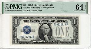 1928 A $1 SILVER CERTIFICATE NOTE FR.1601 BB BLOCK PMG CHOICE UNC 64 EPQ (913B)
