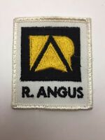 """Vtg R Angus Sew On Patch 2 1/4"""" Farm Tractor Caterpillar Finning Cat Embroidered"""