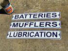 """VINTAGE """"MUFFLERS & BATTERIES"""" EMBOSSED METAL SIGNS (NOS) 18""""x 3, LOT OF 3 SIGNS"""