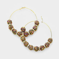 "Shamballa Hoop Earrings Pave Rhinestone Crystal Balls Big 3.5"" Leverback GOLD"