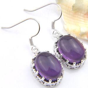Mystical Holiday Gift Teardrop Purple Amethyt Gems Silver Hook Dangle Earrings