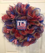 Patriotic Deco Mesh Burlap Wreath